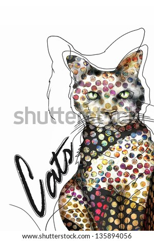 Funky Spotted Art Cat Illustration - stock photo