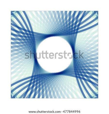 Funky teal, blue and green abstract flower / fan design on white background