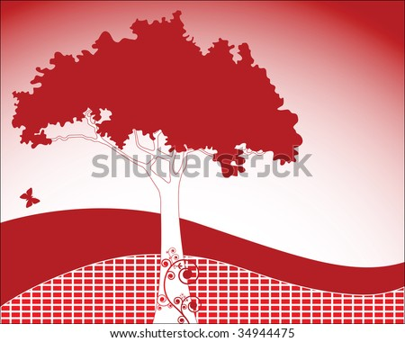 Funky tree with decorative coils and brick hillside - stock photo