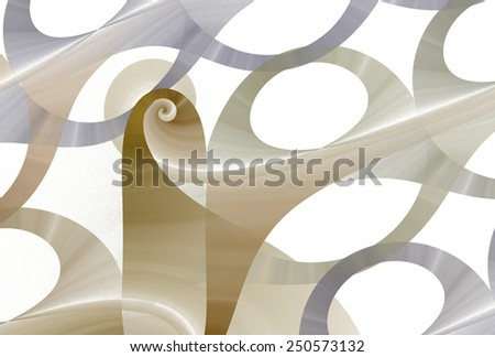 Funky 'wooden' woven spiral design on white  background  - stock photo