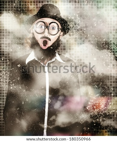 Funny abstract design portrait of a mad scientist woman standing in science laboratory looking surprised when finding an explosive solution to a chemical reaction test