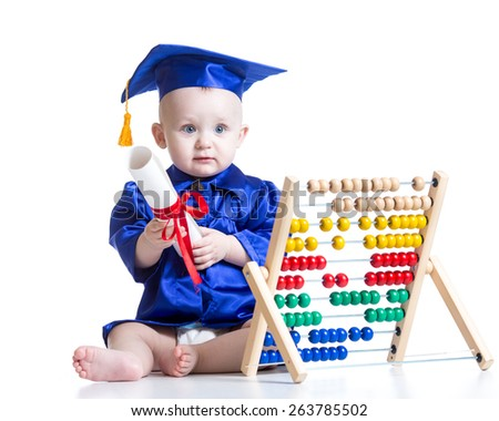Funny academician kid toddler with counter toy - stock photo