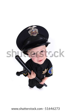 Funny Adorable Image of a Child Police Officer Holding a Night Stick - stock photo