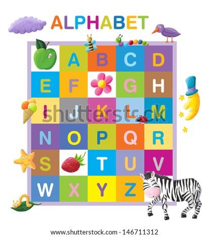 Funny alphabet - stock photo