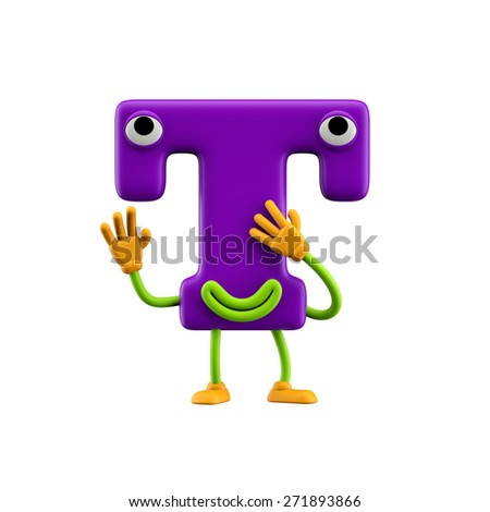 Funny alphabet character. Letter T. Isolated on white background. - stock photo