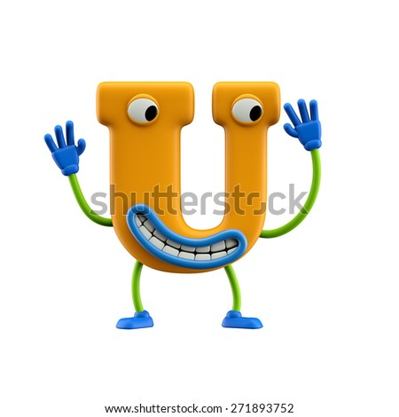 Funny alphabet character. Letter U. Isolated on white background. - stock photo