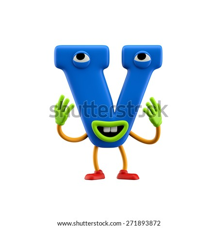 Funny alphabet character. Letter V. Isolated on white background. - stock photo