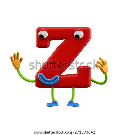 Funny alphabet character. Letter Z. Isolated on white background. - stock photo