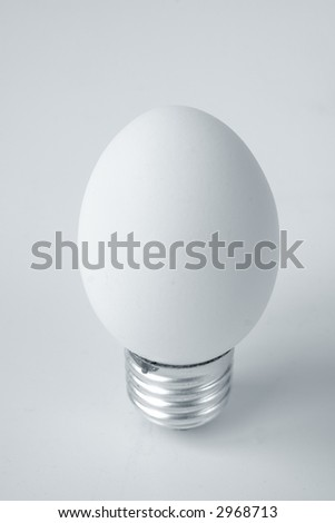 Funny and crazy egg looking like electric bulb - stock photo