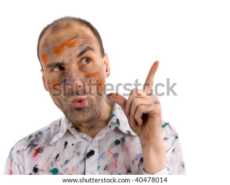Funny and some mad young man with painted hands and face - stock photo