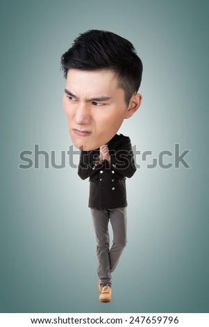 Funny Asian big head man, full length portrait. - stock photo
