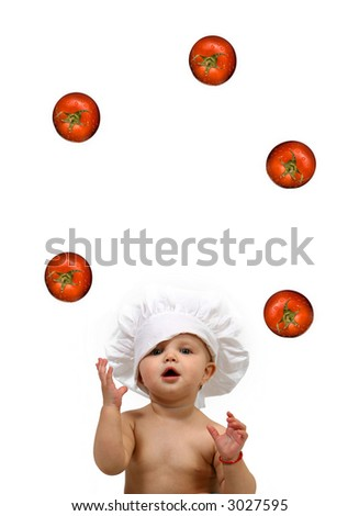 Funny Baby Chef and tomatoes  -juggler - stock photo