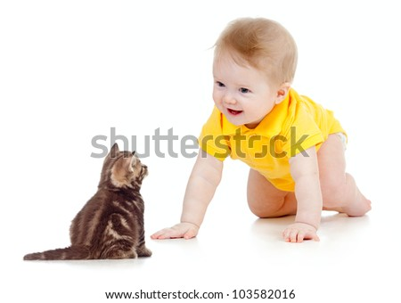funny baby crawling to cat - stock photo