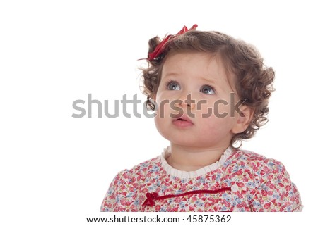 Funny baby girl with red loop isolated over white background