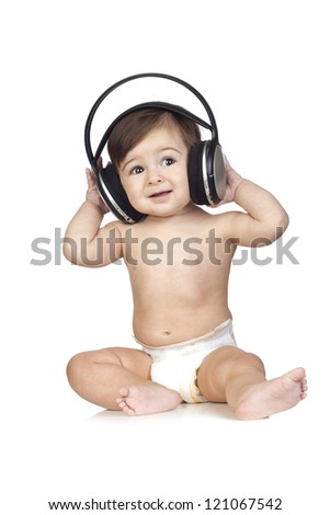 Funny Baby in Diapers Listening to Music Isolated on White - stock photo