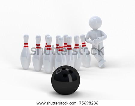 Funny ballhead man and bowling. - stock photo