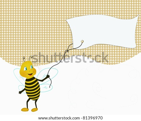 Funny bee holding massage paper - stock photo