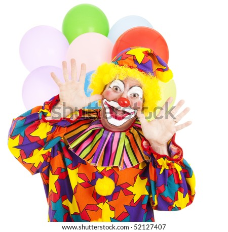 Funny birthday clown with balloons over white background.
