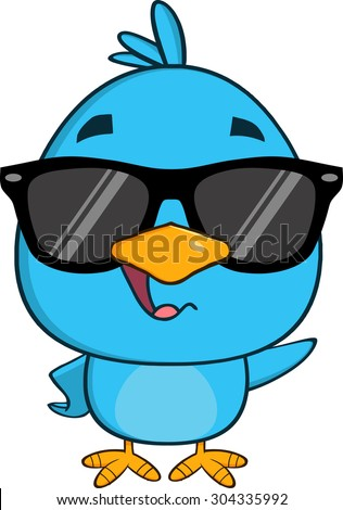 Funny Blue Bird Cartoon Character Waving With Speech Bubble. Raster Illustration Isolated On White - stock photo