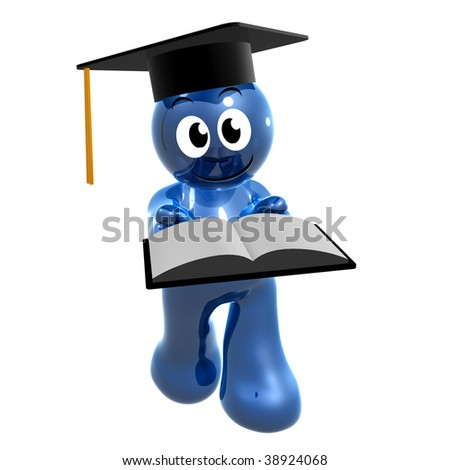 Funny blue icon holding an opened book on graduation day