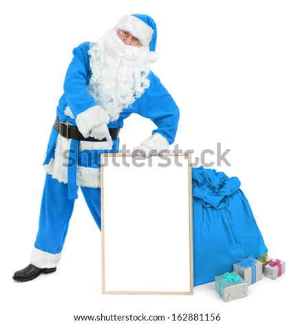 Funny blue Santa with empty white board on white - stock photo
