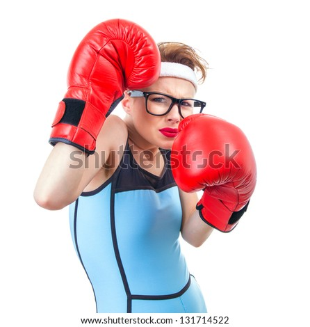 Funny boxer girl scared for fight, isolate on white - stock photo