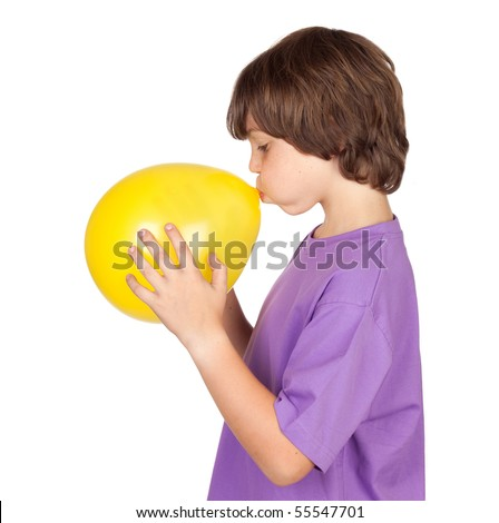Funny boy blowing up a yellow balloon isolated on white background - stock photo
