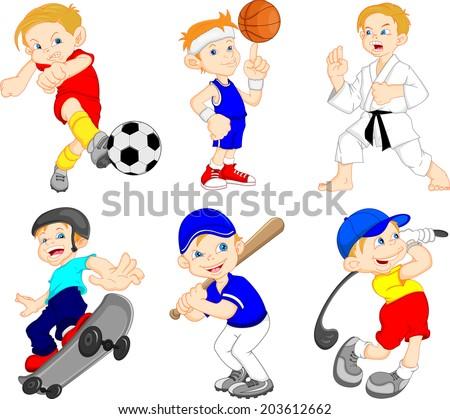 Funny boy cartoon character doing sport  - stock photo