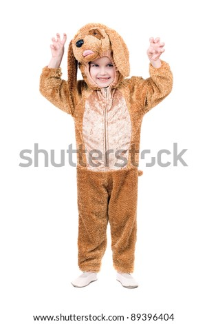 Funny boy dressed as dog. Isolated on white - stock photo
