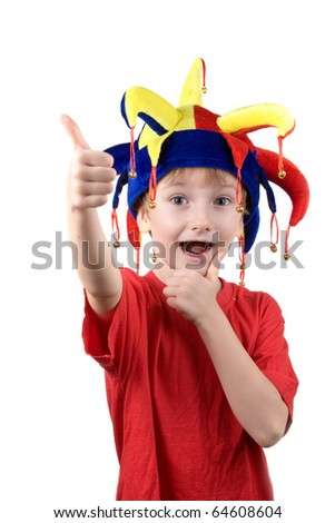 Funny boy in the clown hat on a white background - stock photo