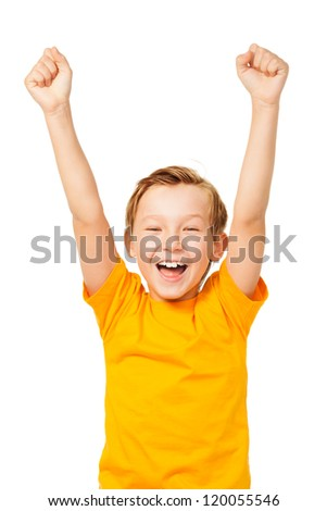 Funny boy shouting with his hands up isolated on white - stock photo