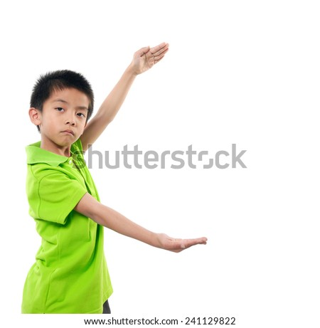 Funny Boy Shouting with open arms - stock photo