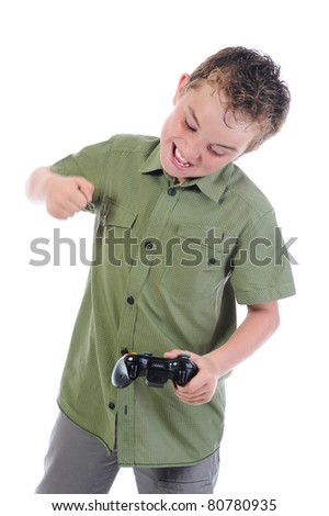 funny boy with a joystick isolated on white background - stock photo