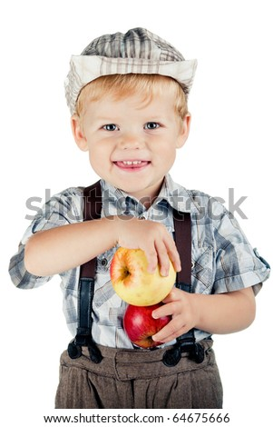 funny boy with apples