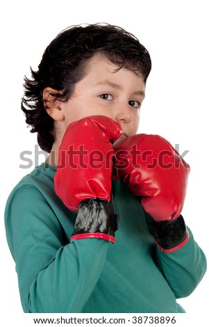 Funny boy with boxing gloves isolated on white - stock photo