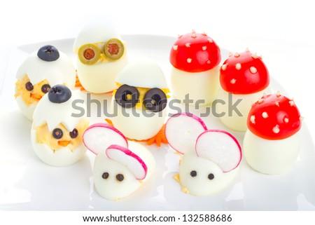 Funny breakfast for kids - stock photo