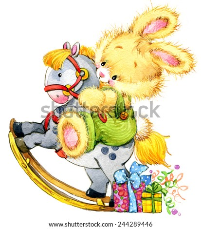 Funny bunny. kid background for holiday greetings . watercolor illustration - stock photo