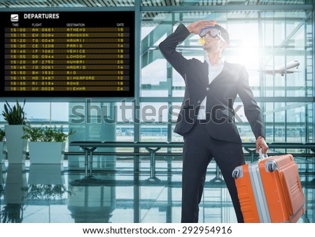 Funny business man ready for holidays wearing a scuba diving mask Travel concept - stock photo