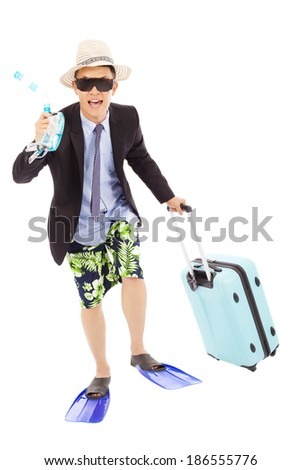 funny businessman holding scuba gearing and baggage  - stock photo
