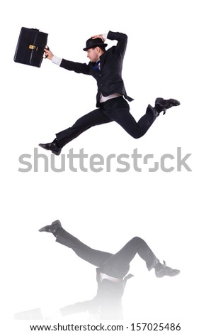 Funny businessman jumping on white - stock photo