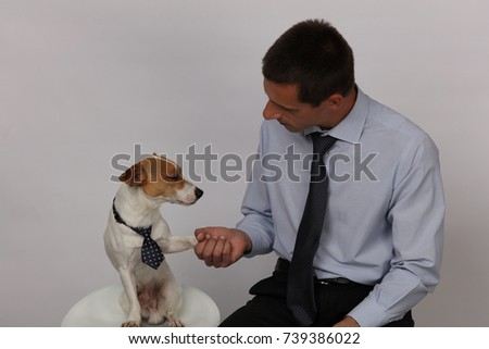 Funny businessman portrait. Man and dog in business team situations, teamwork, business concept.