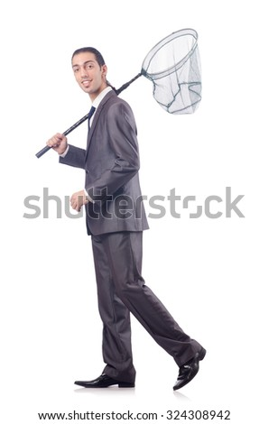 Funny businessman with catching net on white - stock photo