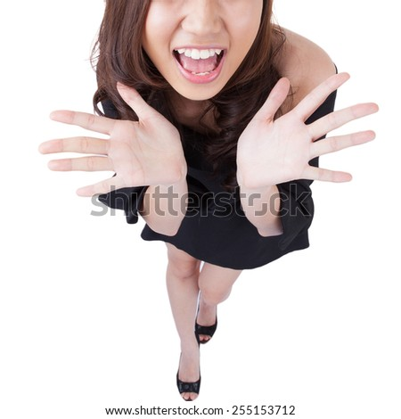 Funny Businesswoman shrugging isolated on white. Asian-Caucasian young xwoman with her palms out showing doubt in a full length isolation from a high angle view. - stock photo