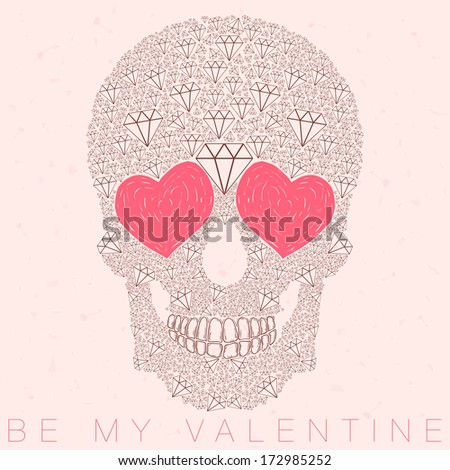 funny, candy, brown skull illustration with heart eyes, diamonds, brilliants. love and valentine's day - stock photo