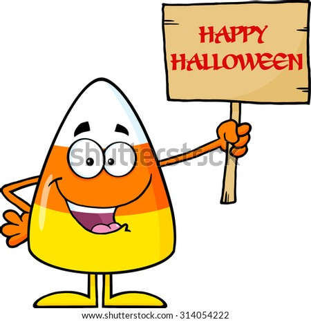 Funny Candy Corn Cartoon Character Holding A Wooden Board With Text. Raster Illustration Isolated On White - stock photo