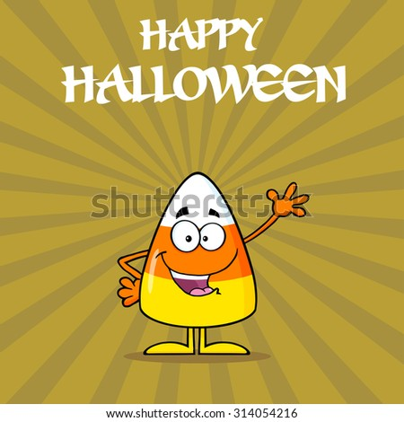 Funny Candy Corn Cartoon Character Waving. Raster Illustration With Background And Text - stock photo