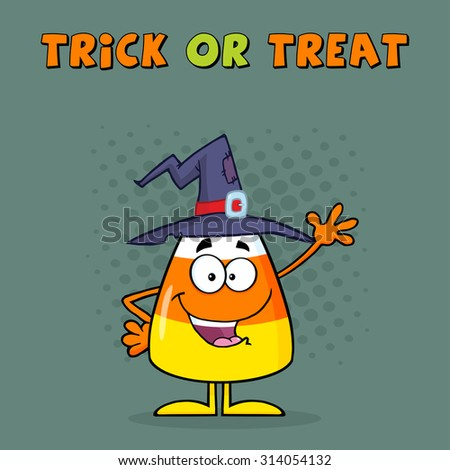 Funny Candy Corn Cartoon Character With A Witch Hat Waving. Greeting Card Raster Illustration  - stock photo