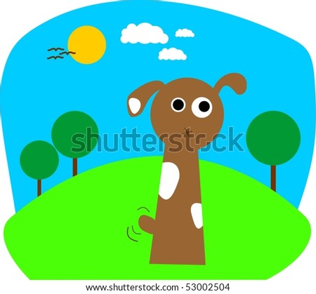 Funny cartoon dog. For vector see my portfolio, image no. 35770759