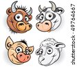Funny cartoon farm animals-mascot of bull,cow,pig,sheep-(version eps id=49672192) - stock photo