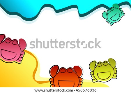 Funny cartoon illustration of cute violet crab with smile isolated on white background.
